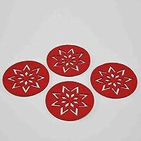 Unimasa Felt Coasters Diameter 9.5 cm Set of 4 Red