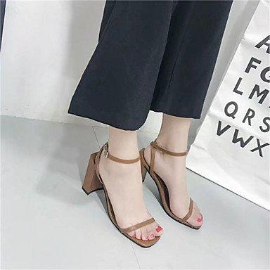 LvYuan Da donna Sandali PU (Poliuretano) Estate Formale Fibbia Quadrato Nero Marrone scuro 5 - 7 cm Black