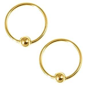 Pair Gold Plated Sterling Silver Earrings Hoops. H21:- Gauge 0.8mm. Internal Diameter 11mm. (1 Pair)