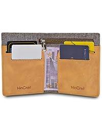 WinCret Portafoglio Sottile in Pelle Denim da Uomo con Tasca Elastica  Multifunzione per appunti e carte - Porta Carte… f2876425158c