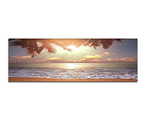 Bilder Wand Bild - Kunstdruck 120x40cm Tropen Strand Meer Palme Abendsonne