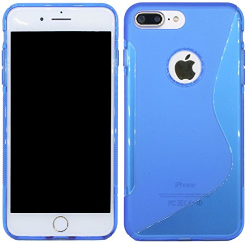 iPhone 8 PLUS // S-Line TPU SchutzHülle Silikon Hülle Silikonschale Case Cover Zubehör Bumper in Pink @ Energmix Blau