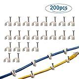 Paquet de 200 attaches de câble de diamètre de 7mm avec le clou intégré, gestion ronde de fil en plastique pour le câble coaxial / CAT6 RG6 (attaches de câble blanches)