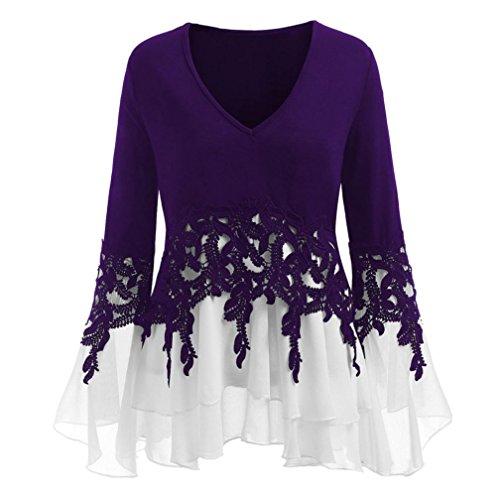 Damen Blusen Ronamick Mode Frauen Casual Applique Flowy Chiffon V-Ausschnitt Langarm Bluse Oberteile Tunika Tops (Lila, 4XL) -