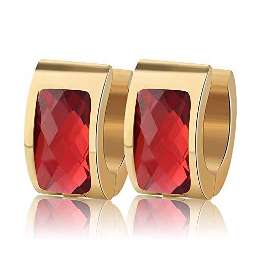 ZHWM Ohrringe Ohrstecker Ohrhänger Gold-Farbe Kleine Creolen Mit Großem Charme Rot/Gelb/Lila/Blau Kristall Modeschmuck Für Frauen, B