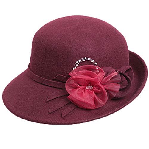 GOUNURE Frauen Runde Cloche Bowler Cap Wollfilz Dome Fedoras Trilby Eimer Derby Church Hut Sun Cap mit Blume -