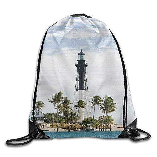 Etryrt Prämie Turnbeutel/Sportbeutel, United States Hillsboro Lighthouse Pompano Beach Florida Atlantic Ocean Palms Coast Bags Jogging Backpack -