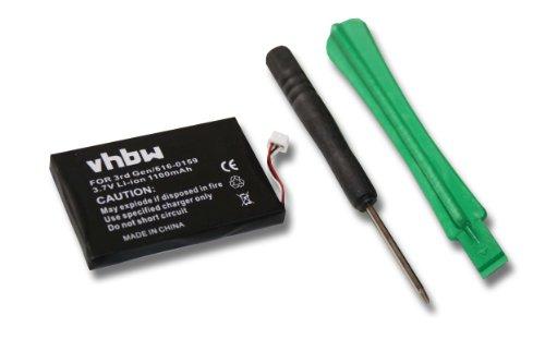 vhbw Li-Ion Akku 1100mAh (3.7V) für MP3-Player Musik Player Apple IPod 3. Generation, 10GB, 15GB, 20GB, 30GB, 40GB, 3G, 3rd Generation, 3, A1040 - Akku Ipod 30gb