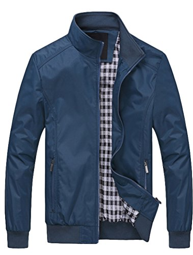MatchLife Herren Bomberjacke Übergangsjacke Leichte Jacke Casual Mäntel mit Stehkragen Blau XS