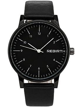 JSDDE Uhren,Klassisch Einfache Armbanduhr Wasserdichte Luxus Modisch Geschäfts Quarzuhr Kunstleder Kleid Uhr Schwarz
