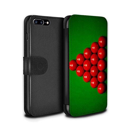 Stuff4 Coque/Etui/Housse Cuir PU Case/Cover pour Apple iPhone 7 Plus / Boul Noir/Rack Design / Snooker Collection Boul Rouge/Rack