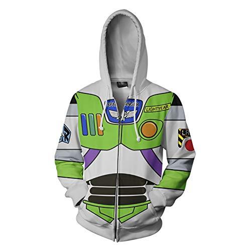 Rabbit sister Herren 3D Buzz Lightyear Kapuzen Sweatshirt Print Langarm Mantel Outwear grün,Grün,L