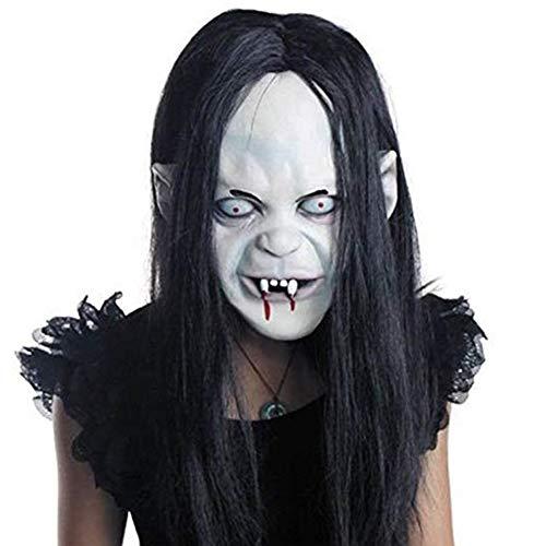 Kostüm Fake Haar - Renendi Gesichtsmaske Horror Sadako Yamamura Grimace mit Haaren Halloween Cosplay Party Requisite Erwachsene Kostüm multi