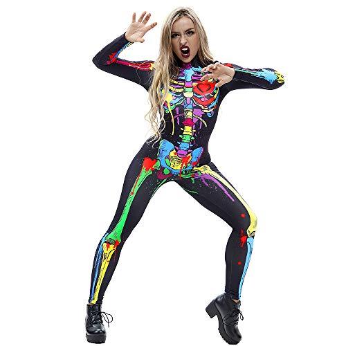 Mitlfuny Damen Skelett Halloween KostüM Catsuit Jumpsuit Bodysuit Overall -