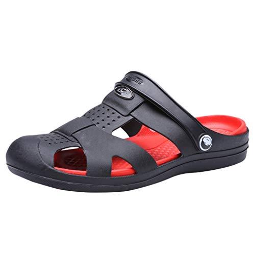 Dtuta Herren Schuhe Slipper Sommer Waten Sport LäSsig Loch Schuhe Zwei Tragen Elastische Ferse Atmungsaktive wasserdichte Rutschfeste Strand Hausschuhe Sandalen