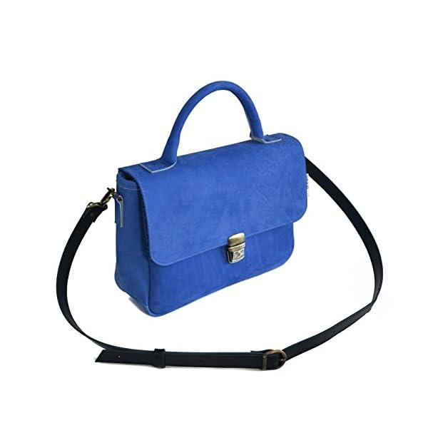 Women handbag with strap; blue leather; eco-friendly - handmade-bags