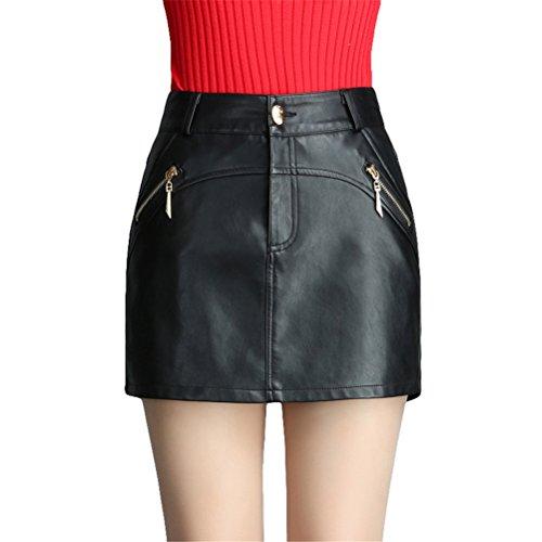 Hippolo Frauen Shorts Weibliche Tragen Wilde Tasche Lederhosen Hohe Taille Shorts Rock PU Lederrock Schwarze Stiefel (XXL, Schwarz)