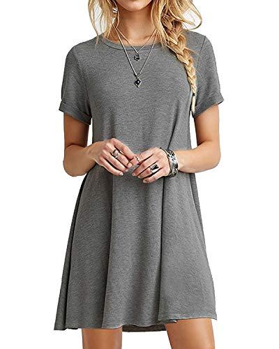 YOINS Sommerkleid Damen Tunika Tshirt Kleid Bluse Kurzarm MiniKleid Boho Maxikleid Rundhals Grau EU44, XL Urlaub Kleid Kleid