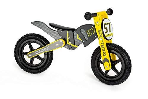 small Foot 10739 Laufrad aus Holz im Motorcross-Design, dreifach Verstellbarer Sitz mit weichem Sattel, trainiert den Gleichgewichtssinn