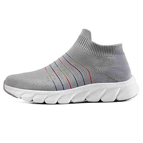 (MYMYG Erwachsene Flache Sportschuhe Trainer-Laufschuhe-Frauen-Socken-Schuhe Breathable Ineinander Greifen-Turnschuhe Running für Walking Sports Gym leichte Atmungsaktiv)