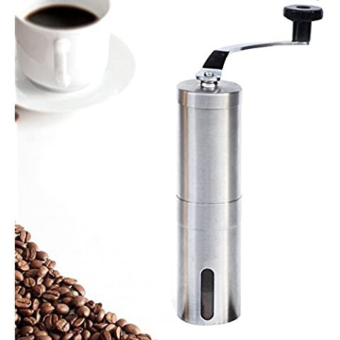 Coffee Mill Grinder, eBerry Superior Manual Stainless Steel Burr Design for Consistently Brewing Espresso, Pour over, French Press & Turkish Coffee Hand Crank Mill with Adjustable Ceramic Conical