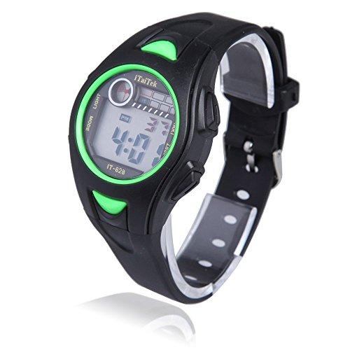 Reloj de pulsera de nino - iTaiTek Reloj de pulsera digital para Natacion Deportes de chica chico ninos IT-628 Impermeable (Negro + Verde)