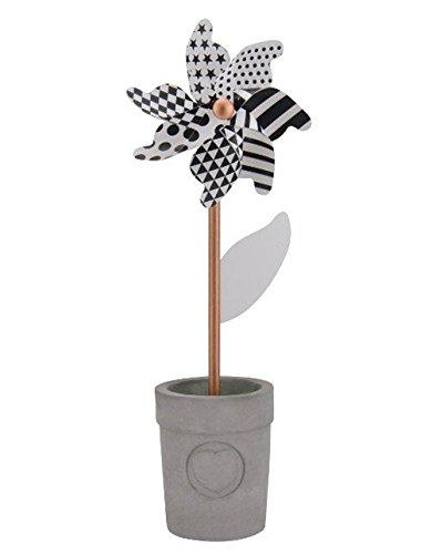 Windrad Blume mit schwarz-weiß Muster, im Topf zwei Größen zur Wahl, 37 cm oder 55 cm, als Gartendeko oder Deko für Balkon / Terrasse oder die Fensterbank, Kunststoff, Metall, Holz, Beton, Größe:medium