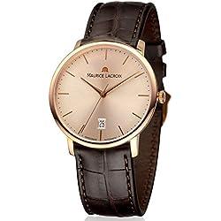 Maurice Lacroix Les Classiques lc6007-pg101-130-37mm automático funda de piel color marrón en oro 18K cristal de zafiro reloj para hombre