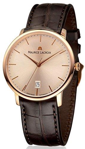 Maurice Lacroix Les Classiques lc6007-pg101–130–37mm automático funda de piel color marrón en oro 18K cristal de zafiro reloj para hombre
