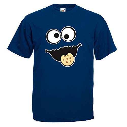 Shirt-Panda Herren Unisex T-Shirt Keksmonster Krümelmonster Gruppen Kostüm Karneval Fasching Verkleidung Party JGA Navy M