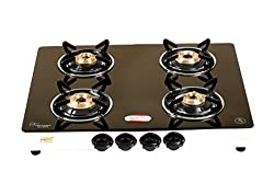 brightflame 4 Burner Glass Cook Top - Tulip SS, for PNG/PIPE GAS Customers, Manual Ignition