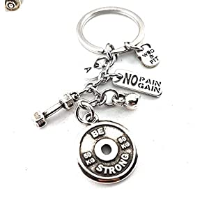 Keychain BE STRONG Dumbbell Hex, Kettlebell, Motivation & Initial Letter FitnessGift, Bodybuilding, Turnhallen-Geschenke,No Pain No Gain, Never Give Up, Unbroken, Boxing Glove, Personal Trainer
