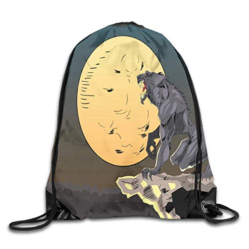 ng Bag Halloween Background with Wolf Gym Hiking Travel Rucksack mit Kordelzug ()