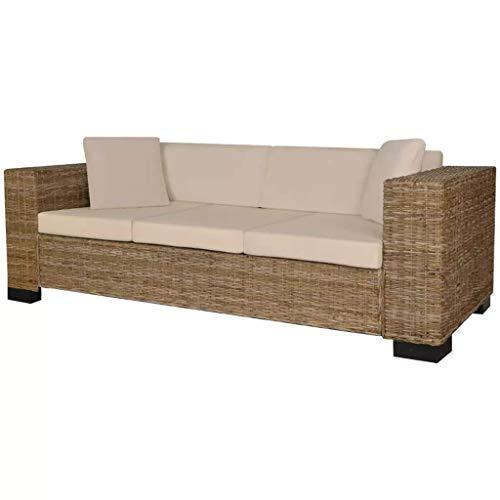 Zora Walter 8-TLG. naturbelassene Rattanfarbe 3-Sitzer Sofa Set Echt Rattan Couch Schlafsofa Bettsofa with Size:200 x 80 x 61 cm (B x T x H)