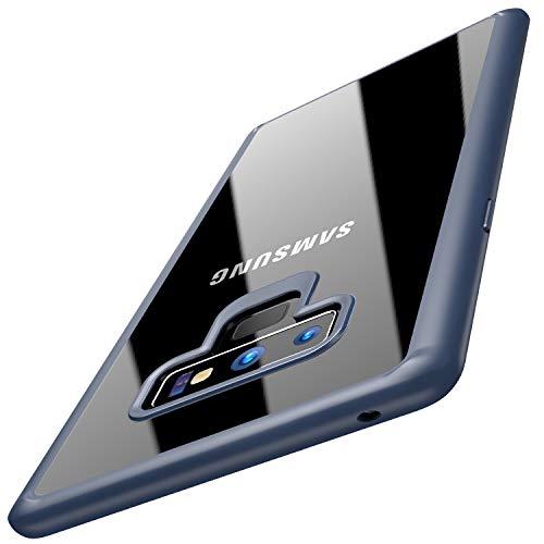 TOZO Funda para Samsung Galaxy Note 9, Funda Protectora Ultrafina Híbrida de PC + TPU con Amortiguador Trasero Transparente con Amortiguación [Borde Azul]