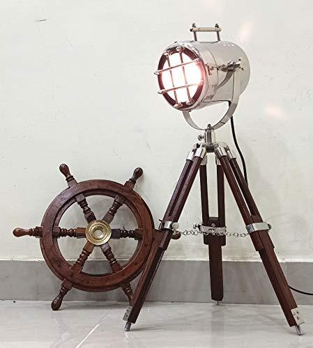 Vintage foco trípode cromo/acabado en plata y marrón mesa [Clase de eficiencia...