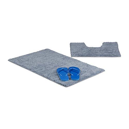 Relaxdays Badgarnitur 2-teilig, Streifen-Design, Für Fußbodenheizung, Waschbar, Badematte und WC-Vorleger, Für Stand-WC, 80 x 50 cm, grau