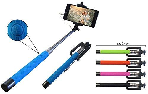 Selfie Stick / batterielose Selfie Stange / ausziehbar bis 108 cm / ohne Bluethooth / passend für z. B. Apple Iphone 5 5S 5C 6 6S 7 7S 8 X / Samsung Galaxy Andriod S4 S5 S6 S7 S8 Edge und alle anderen Smartphones (Pink)