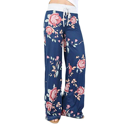 WOZOW Weites Bein Palazzo Hosen Freizeithose Damen Boho Flowers Blumenmuster Casual Lose Extra Lang Long High Waist Soft Kordelzug Zug Pyjama Trousers Stoffhose (M,Blau) (Womens Tin Man Kostüm)