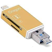 Rayo de oro iFlash USB SDHC Micro SD lector de tarjetas de OTG para Compatible con IOS 11 para iphone X 8/8 Plus 7/7 Plus 6S / 6S Plus 6/6 Plus Galaxy S6 S7 S5 S4 S3