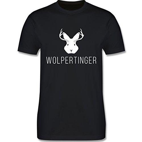 Bayern Männer - Wolpertinger geometrisch - L190 Schlichtes Männer Shirt Schwarz