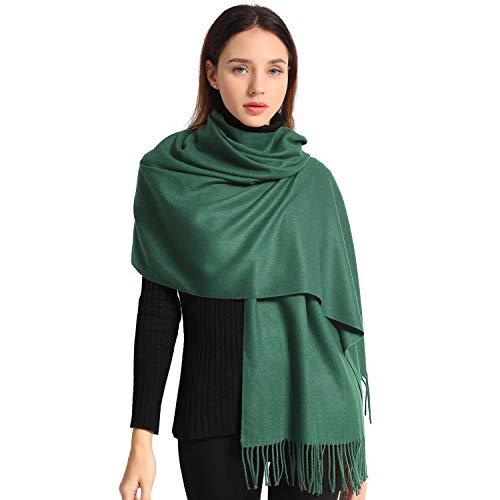 803adfd5838 Pashmina Scarves for Women Shawl Wraps Wedding Mens Cashmere Scarf Wool  Scarfs (Dark green)