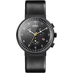 Braun BN0035BKBKG - Reloj cronógrafo de caballero de cuarzo con correa de piel negra