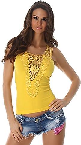 Femmes Shirt Top T-shirt en dentelle florale chemise en dentelle motif fleur manches côtes design trendy Jaune 36/38
