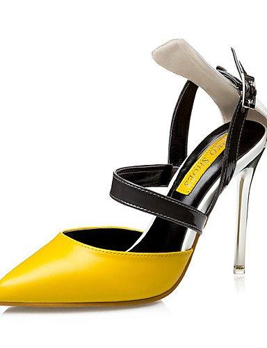 WSS 2016 Chaussures Femme-Habillé-Noir / Jaune / Rose-Talon Aiguille-Talons / Bout Pointu / Bout Fermé-Talons-Similicuir yellow-us8 / eu39 / uk6 / cn39