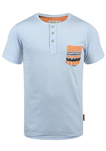 Indicode Art Herren T-Shirt Kurzarm Shirt Mit Grandad-Ausschnitt Aus 100% Baumwolle, Größe:L, Farbe:Sky Way (403)