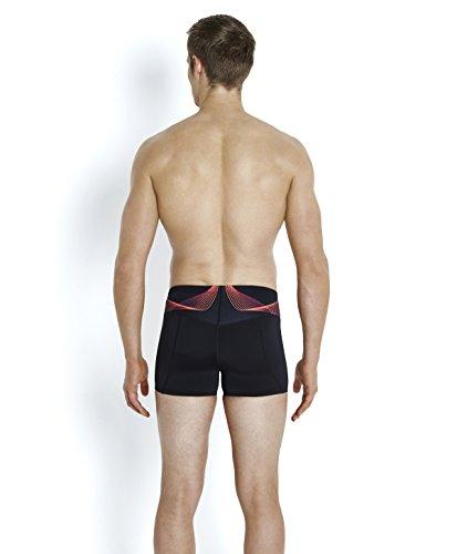 Speedo-fit Masculine Pinnacle Aqua Rouge Courte, Noir / Psycho / Or Noir