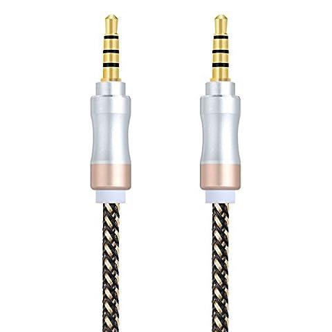 Audio Kabel 1.5M TYJTECH 3,5mm Klinkenstecker auf Klinkenstecker Vergoldete Kontakte