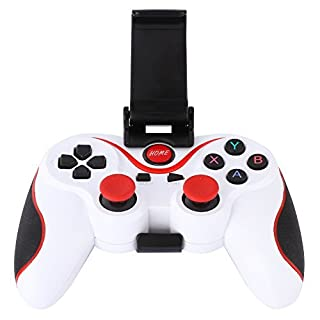 Amazingdeal365 Android Game Controller,Wireless Bluetooth Gamepad Gaming Controller Joystick with Adjustable Bracket Holder for Android Smartphone Tablets/PC Smart TVs/TV boxes (White)