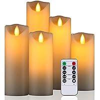 Daby's LED Candle, 5 Velas decorativas (14cm, 15cm, 16cm, 18cm, 20cm), Vela sin llama de 300 horas y control remoto de 10 botones. Llama LED parpadeante, hecha de parafina real